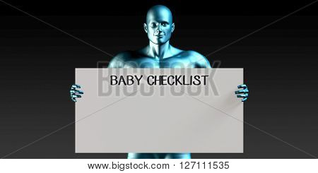 Baby Checklist with a Man Carrying Reminder Sign 3D Illustration Render