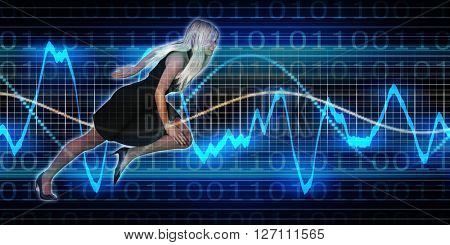 Successful Business with Nordic Woman and Graph Background 3D Illustration Render