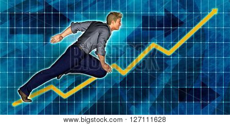 European Businessman Running with Chart Graph Background Art 3D Illustration Render