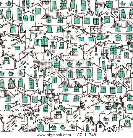 Pattern with hand drawn doodle houses. Samless background in black and white. Illustration is in eps8 vector mode.