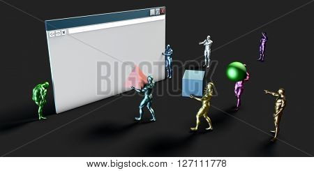 Internet Commerce and Electronic Browser Development Art 3D Illustration Render