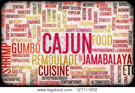 Cajun Food and Cuisine Menu Background with Local Dishes