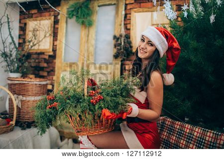Beautiful Snow Maiden in fashionable dress waiting for Christmas