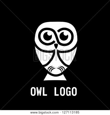 Owl logo in black background