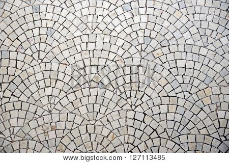 marble cobblestone pavement with curvature pattern - architectural background