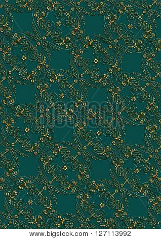 Dark green seamless background withvintagegold ornament stowed at an angle