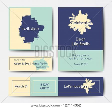 Modern grunge brush design templates, wedding invitation, banner, art vector cards design in bright colors