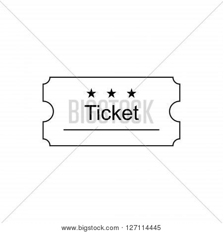 Ticket icon in the outline style. Ticket vector illustration. Ticket stub isolated on a background. Retro cinema tickets. Tickets concept icon. Movie ticket icon. Illustration old tickets.