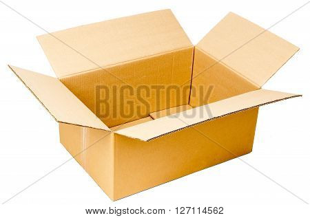 Opened cardboard box. Isolated on white background
