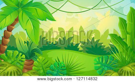 Vector cartoon game background of green jungle landscape