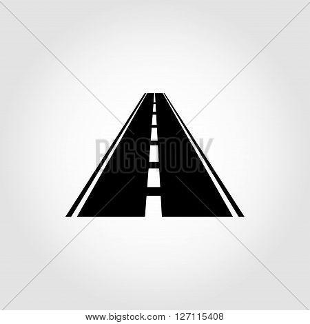 Vector black car road icon. Highway symbol. Road sign.