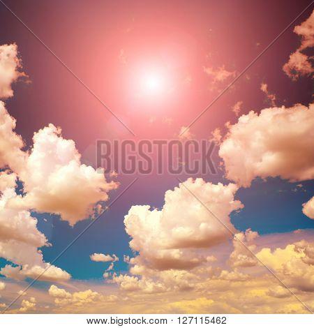 Beautiful bright sunset. Heavenly background.