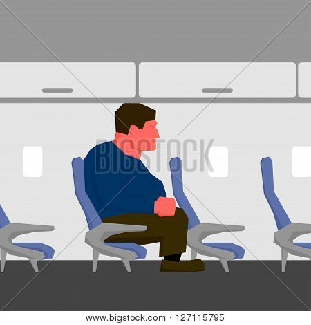 Angry man with red face and clenched fist, too big for seat on plane
