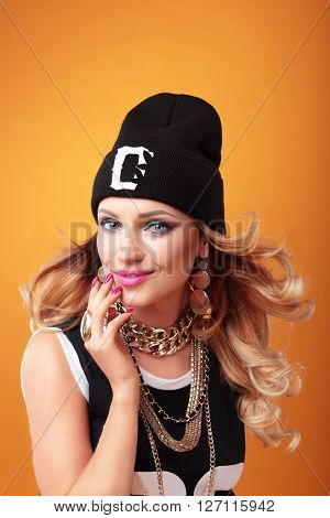 Hip-hop Woman In Cap.