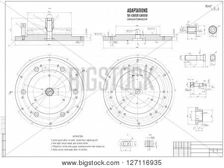 technical drawing the clutch construction draft with horizontal frame on the white background. stock vector illustration eps10