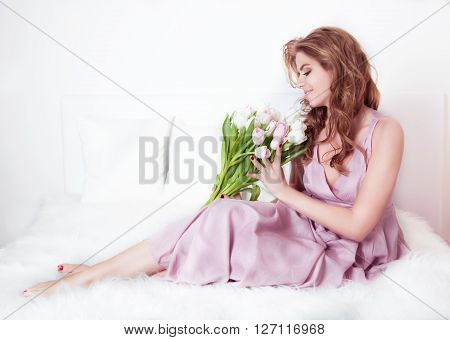 Beautiful Woman  With Bouquet.