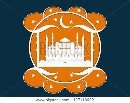 Paper Mosque. Blue Mosque. Ramadan Kareem celebration. Holy Month Vector illustration.