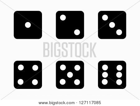 Vector black dice cubes icons set on white background