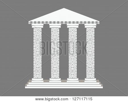 Building With Columns. Column. Doric, Roman Style. Vector Illustration.