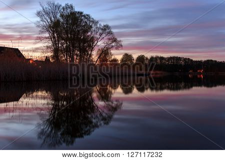 Trees Reflection In Water, Landscape At Night
