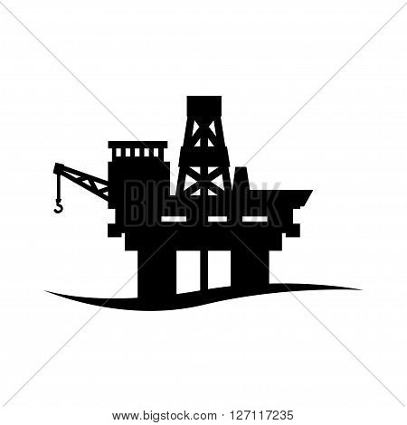 Vector black oil platform icon on white background. Oil offshore platform