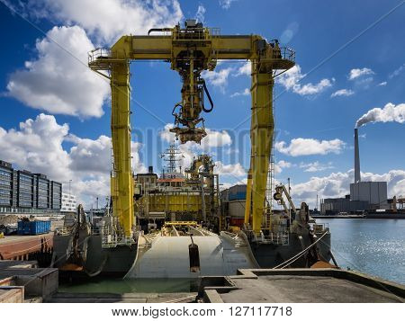Offshore cable rig in Esbjerg harbor Denmark