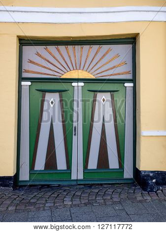 Antique door in medieval city of Ribe in Denmark