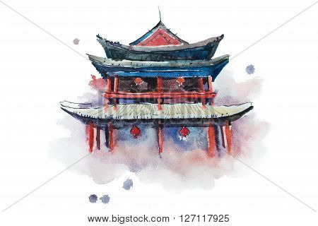 Watercolour painting of Xian fortifications. Sian city wall, China aquarelle illustration