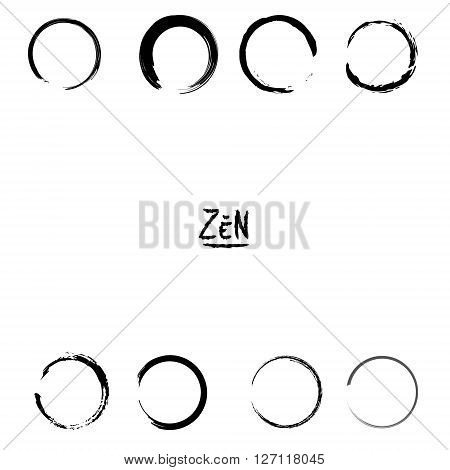 Minimalistic vector isolated Enso zen black circles.