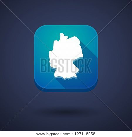 Square Long Shadow App Button With  A Map Of Germany