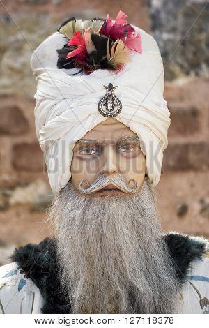 ISTANBUL,TURKEY, APRIL 21, 2016: Close up portrait of an Ottoman vizier mannequin inside Istanbul Tulip Museum, Emirgan, Turkey.