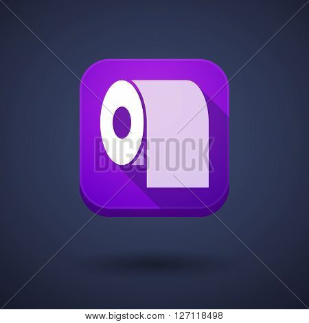 Square Long Shadow App Button With A Toilet Paper Roll