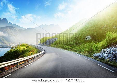 road and mist, Lofoten islands, Norway