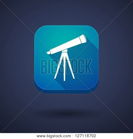 Square Long Shadow App Button With A Telescope