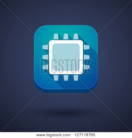 Square Long Shadow App Button With A Cpu