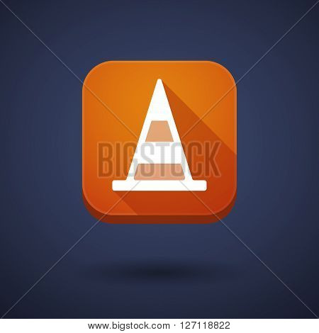 Square Long Shadow App Button With A Road Cone