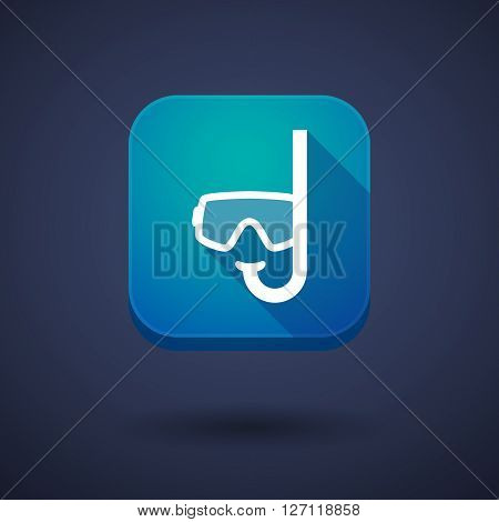 Square Long Shadow App Button With A Diving Goggles