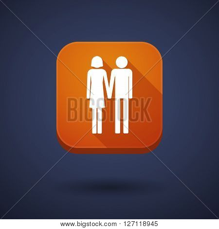 Square Long Shadow App Button With A Heterosexual Couple Pictogram
