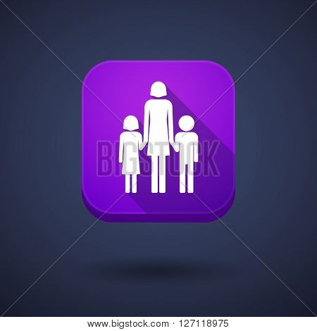 Square Long Shadow App Button With A Female Single Parent Family Pictogram
