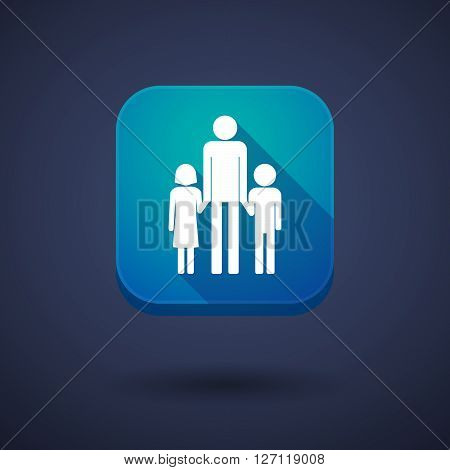Square Long Shadow App Button With A Male Single Parent Family Pictogram