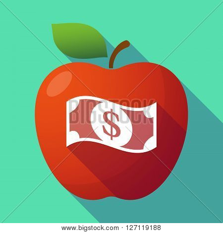 Long Shadow Red Apple With A Dollar Bank Note