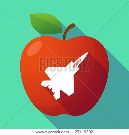 Long Shadow Red Apple With A Combat Plane
