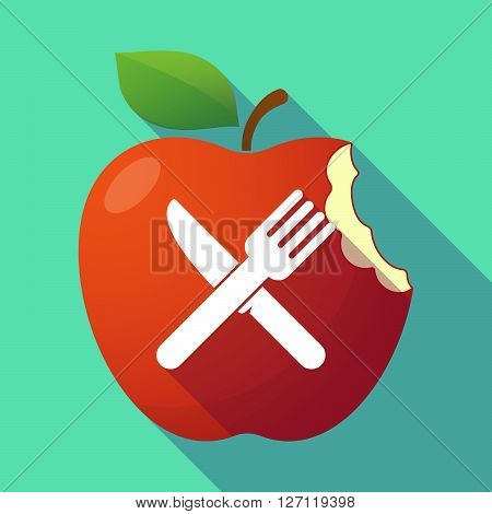 Long Shadow Red Apple With A Knife And A Fork