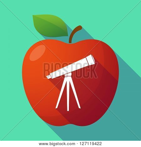 Long Shadow Red Apple With A Telescope