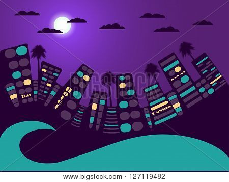 Night City Landscape. Moon And Cloud. Vector Illustration.