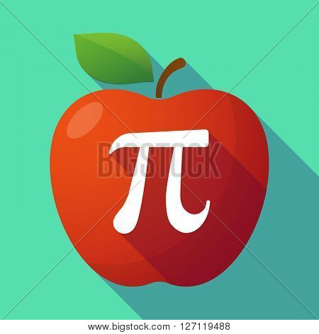Long Shadow Red Apple With The Number Pi Symbol