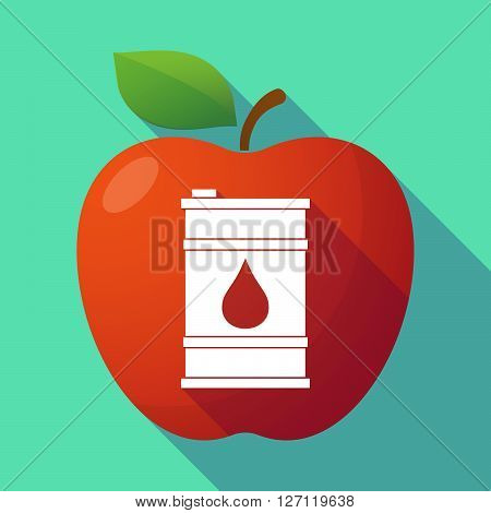 Long Shadow Red Apple With A Barrel Of Oil