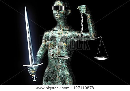 Legal Computer Judge Concept, Lady Justice Isolated On Black