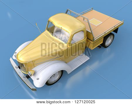 Old restored pickup 3D Rendering. Pick-up in the style of hot rod. 3d illustration. Golden-white car on a blue background