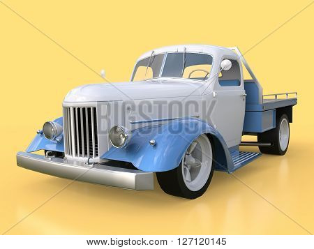 Old restored pickup 3D Rendering. Pick-up in the style of hot rod. 3d illustration. White and blue car on a yellow background
